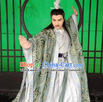 Traditional Chinese Ancient Old Men Embroidered Costumes, Ancient Chinese Cosplay Swordsmen Knight Costume Complete Set for Men