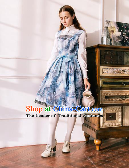 Traditional Classic Elegant Women Costume Sundress, Restoring Ancient Gothic oil Painting Jumper Skirt for Women