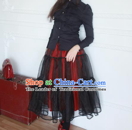 Traditional Classic Elegant Women Costume Organdy Half Skirt, Restoring Ancient Princess Gothic Organza Dress for Women