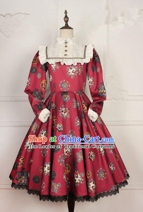 Traditional Classic Elegant Women Costume One-Piece Dress, British Restoring Ancient Princess Gothic Dress for Women