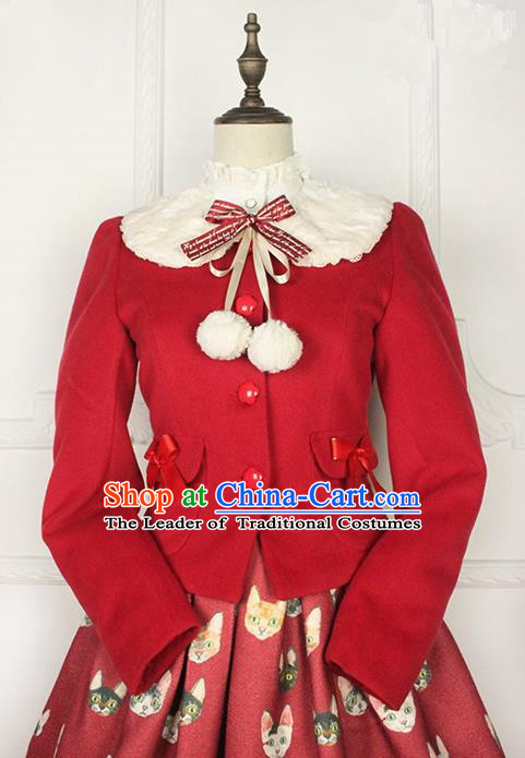 Traditional Classic Elegant Women Costume Woolen Jacket, Restoring Ancient Wool Sweet Short Coat  for Women