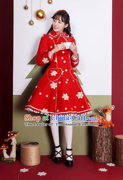Traditional Classic Elegant Women Costume Woolen Cloak Dust Coat, Restoring Ancient Christmas Cape Coat for Women