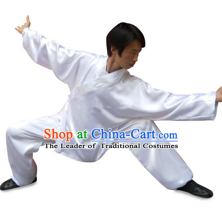 Traditional Chinese Wudang Uniform Taoist Uniform Changeable Silk Slant Opening Priest Frock Kungfu Kung Fu Clothing Clothes Pants Slant Opening Shirt Supplies Wu Gong Outfits, Chinese Tang Suit Wushu Clothing Tai Chi Suits Uniforms for Men