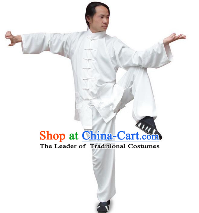 Traditional Chinese Wudang Uniform Taoist Uniform Silk Priest Frock Kungfu Kung Fu Clothing Clothes Pants Slant Opening Shirt Supplies Wu Gong Outfits, Chinese Tang Suit Wushu Clothing Tai Chi Suits Uniforms for Men
