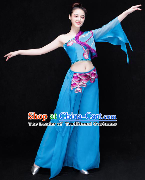 Traditional Chinese Classical Yangko Water-Sleeve Dance Dress, Yangge Fan Dancing Costume Umbrella Dance Suits, Folk Dance Yangko Costume for Women