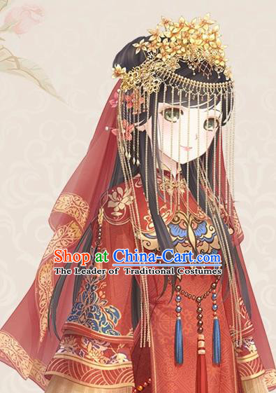 Traditional Chinese Wedding Jewelry Accessories Traditional Xiuhe Suits Wedding Bride Phoenix Headwear Wedding Hairpin Ancient Chinese Tassel Harpins for Women