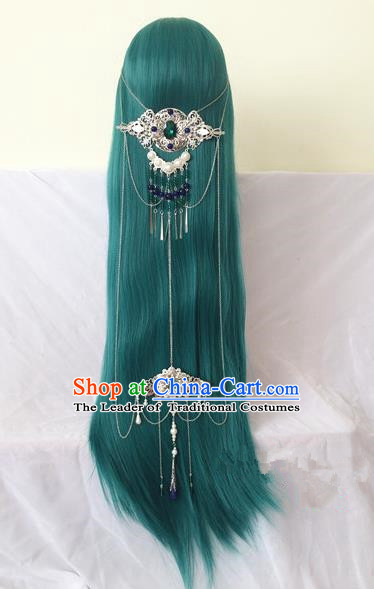 Traditional Chinese Ancient Jewelry Accessories, Ancient Chinese Imperial Princess Peacock Feathers Headwear Wedding Long Tassels Hair Step Shake, China Wedding Bride Hairpin for Women