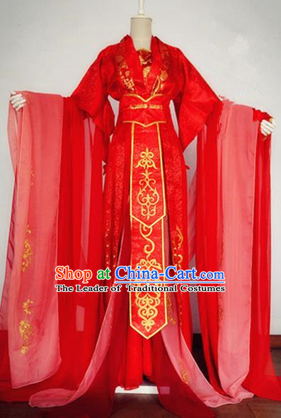 Traditional Chinese Ancient Princess Red Costumes, Chinese Han Dynasty Imperial Princess Wedding Bride Embroidery Clothes Complete Set for Women