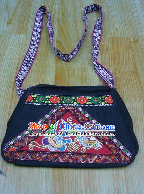 Traditional Chinese Miao Nationality Palace Handmade Embroidery Bag Hmong Handmade Embroidery Hanging Package for Women