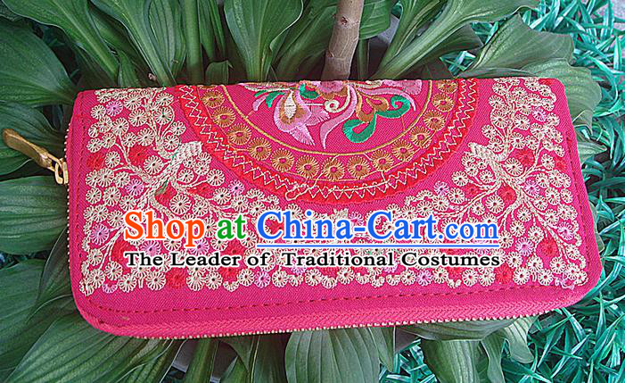Traditional Chinese Miao Nationality Palace Handmade Double-Sided Embroidery Handbag Wallet Hmong Handmade Embroidery Cash Cow Purse for Women