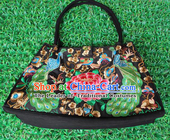 Traditional Chinese Miao Nationality Palace Handmade Double-Sided Embroidery Peacock Peony Handbag Hmong Handmade Embroidery Bags for Women
