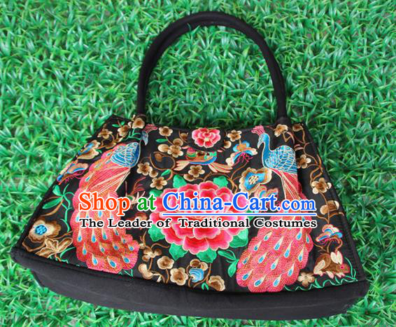 Traditional Chinese Miao Nationality Palace Handmade Double-Sided Embroidery Peacock Peony Handbag Hmong Handmade Embroidery Canvas Bags for Women