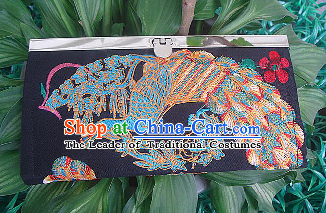 Traditional Chinese Miao Nationality Palace Handmade Double-Sided Embroidery Peacock Handbag Wallet Hmong Handmade Embroidery Purse for Women