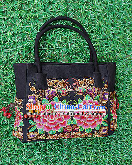 Traditional Chinese Miao Nationality Palace Handmade Double-Sided Embroidery Peony Handbag Hmong Handmade Embroidery Canvas Bags for Women