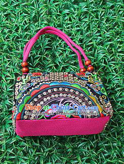 Traditional Chinese Miao Nationality Palace Handmade Embroidery Peony Handbag Hmong Handmade Embroidery Canvas Bags for Women