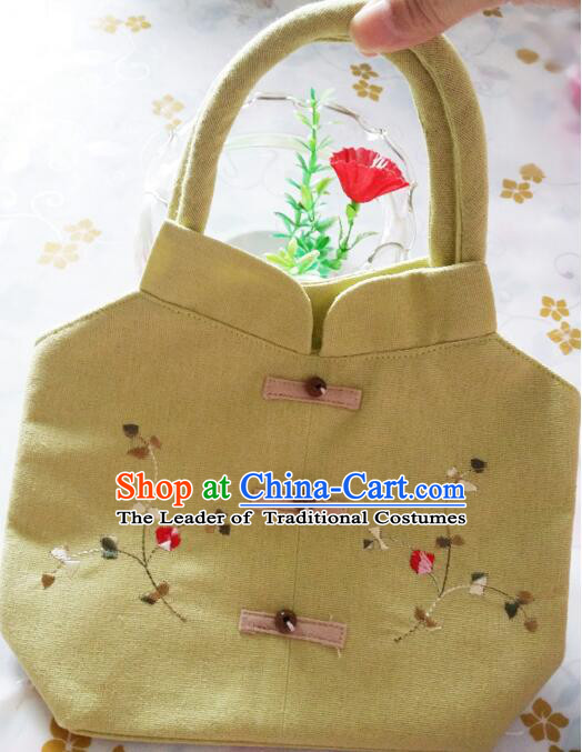 Purse Women Handbag Chinese Traditional Style Min Guo Lady Stage Play Property Yellow
