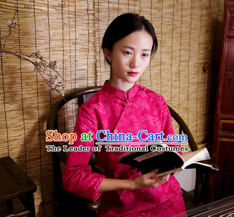 Traditional Classic Women Clothing, Traditional Pure Cotton Fine Jacquard Retro Button Chinese Cheongsam, Chinese Red Qipao for Women