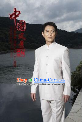 Chinese Tunic Suit Sun Yat Sen Uniform Wu Si Period Student Clothes for Men White