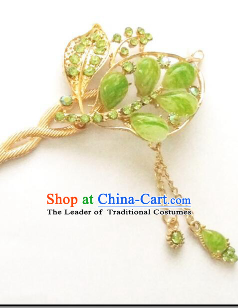 Hairpins Ancient Korean Style Women Hair Clasp Bride Head Wear Up Do Green