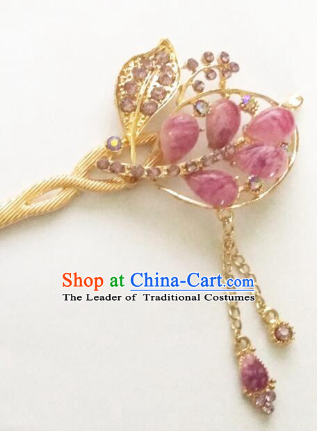 Hairpins Ancient Korean Style Women Hair Clasp Bride Head Wear Up Do Purple
