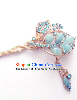 Hairpins Ancient Korean Style Women Hair Clasp Bride Head Wear Up Do Light Blue