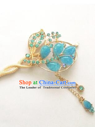 Hairpins Ancient Korean Style Women Hair Clasp Bride Head Wear Up Do Dark Blue