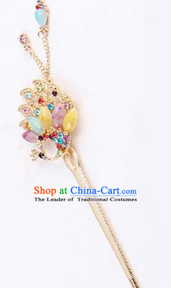 Korean Traditional Style Hairpins Bride Head Wear Up Do Tassels Bu Yao Peacock Spreading Tail Feathers Hair Clasp