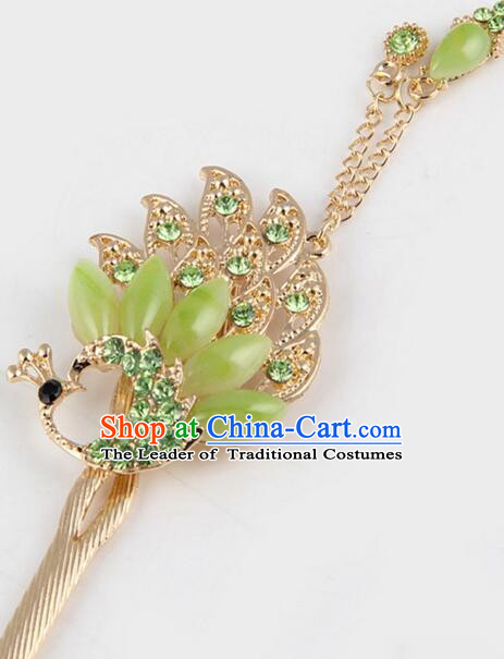 Korean Traditional Style Hairpins Bride Head Wear Up Do Tassels Bu Yao Peacock Spreading Tail Feathers Hair Clasp Green