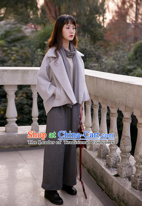 Traditional Classic Women Clothing, Traditional Classic Grey Pure Woolen Tweed Jacket Wool Coats