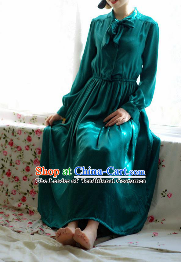 Traditional Classic Women Clothing, Traditional Classic Silk Satin Spring Long-Sleeved Dress Long Skirts