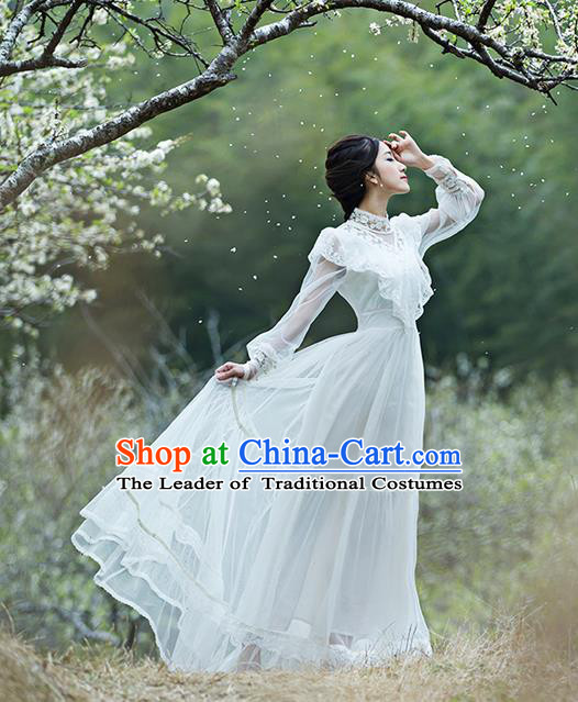 Traditional Classic Women Clothing, Traditional Classic Bride Lace Long Skirt Wedding Dress