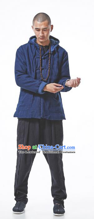 Chinese Hooded Cotton Linen Double-Breasted Tang Suit Plate Buttons Costumes, Chinese Style Ancient Thick Cotton-Padded Jacket Hanfu Male Winter Coat