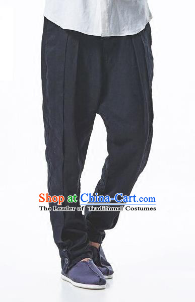 Traditional Chinese Linen Tang Suit Trousers, Chinese Ancient Costumes, Flax Baggy pants Crotch Trousers Yoga Pants
