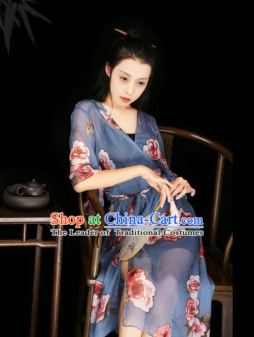 Traditional Classic Women Clothing, Traditional Classic Chinese Emulation Silk Printed Chiffon Dress, Long Skirt for Women
