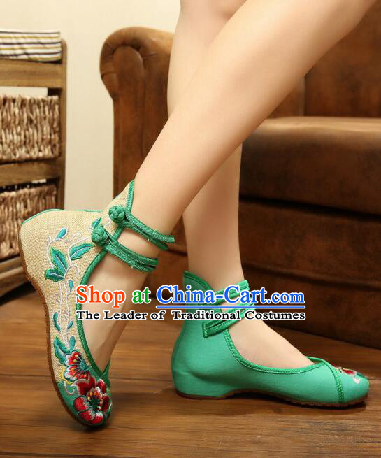 Chinese Traditional Shoes for Women Dance Shoes Embroidery Classic Ancient Button Retro style Vogue