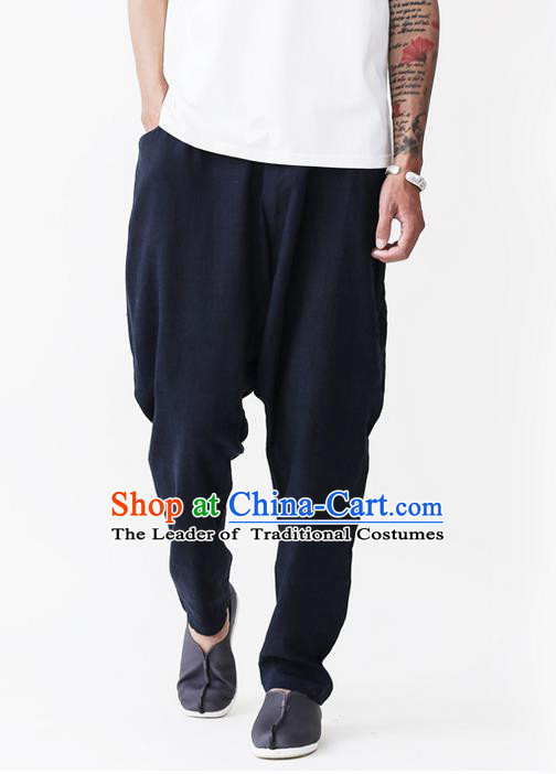 Traditional Chinese Linen Tang Suit Men Trousers, Chinese Ancient Costumes Cotton Pants, Nepal Flax Feet Low Crotch Large Crotch Pants for Men