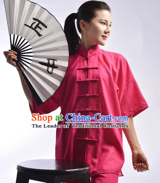 Traditional Chinese Top Linen Kung Fu Costume Martial Arts Kung Fu Training Uniform Tang Suit Gongfu Shaolin Wushu Clothing Tai Chi Taiji Teacher Suits Uniforms for Women