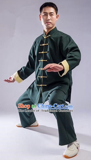 Traditional Chinese Thicken Double Linen Velvet Kung Fu Costume