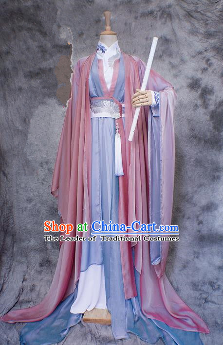 Chinese Ancient Cosplay Costumes, Chinese Traditional Embroidered Princess Clothes, Ancient Chinese Cosplay Fairy Costume Complete Set For Women