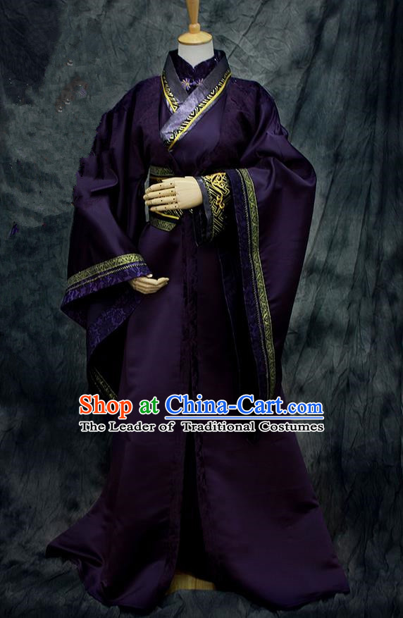 Chinese Ancient Cosplay Costumes, Chinese Traditional Embroidered Royal Prince Patent Satin Clothes, Ancient Chinese Cosplay Swordsman Knight Costume Complete Set For Men