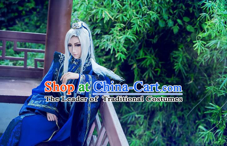 Chinese Ancient Cosplay Costumes, Chinese Traditional Embroidered Royal Prince Clothes, Ancient Chinese Cosplay Swordsman Knight Satin Costume Complete Set For Men