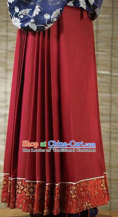 Traditional Chinese Ming Dynasty Young Lady Embroidered Costume Red Skirt, Asian China Ancient Hanfu Horse-face Skirt for Women
