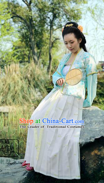 Traditional Chinese Song Dynasty Palace Lady Embroidered Costume, Asian China Ancient Imperial Concubine Hanfu Clothing for Women