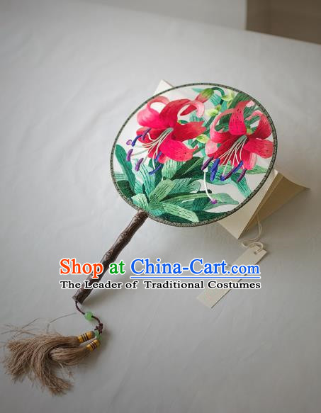 Traditional Chinese Palace Lady Accessories Hanfu Embroidered Lily Flowers Circular Fans, Asian China Ancient Round Fan for Women