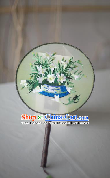 Traditional Chinese Palace Lady Accessories Hanfu Embroidered Flowers Circular Fans, Asian China Ancient Round Fan for Women