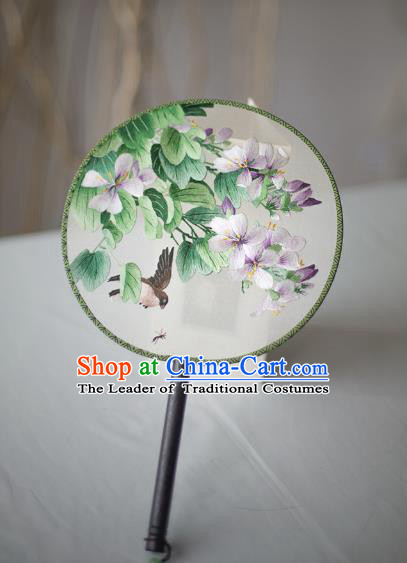 Traditional Chinese Palace Lady Accessories Hanfu Embroidered Birds Flowers Fans, Asian China Ancient Round Fan for Women