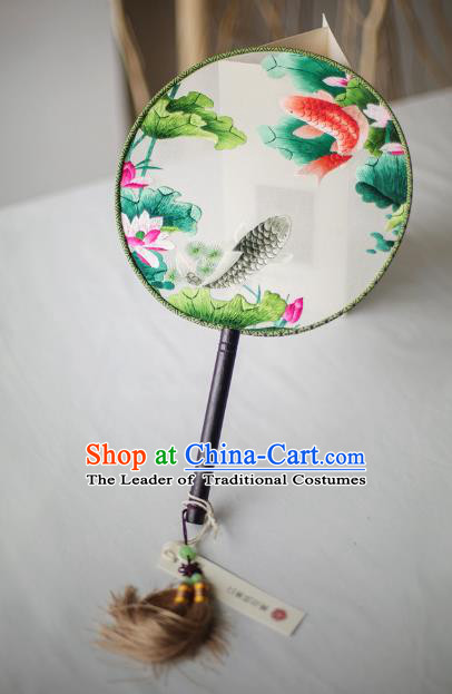 Traditional Chinese Palace Lady Accessories Hanfu Embroidered Lotus Fish Fans, Asian China Ancient Round Fan for Women