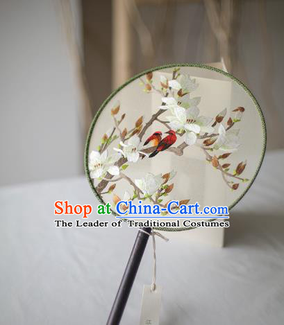 Traditional Chinese Palace Lady Accessories Hanfu Embroidered Peach Blossom Fans, Asian China Ancient Round Fan for Women