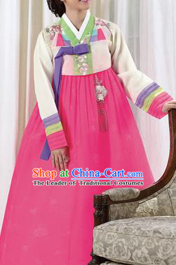 Traditional Korean Costumes Palace Lady Formal Attire Ceremonial Blouse and Pink Dress, Asian Korea Hanbok Bride Embroidered Clothing for Women