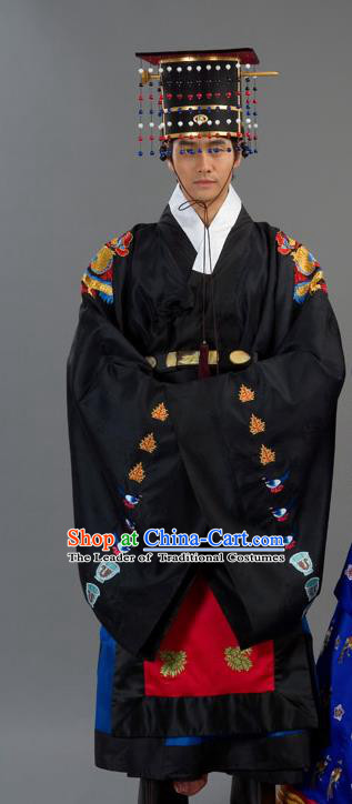 Traditional Korean Costumes Bridegroom Formal Attire Ceremonial Black Cloth, Asian Korea Emperor Hanbok Embroidered Clothing for Men